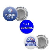 Round badge Prague 2018 in shape of cupola